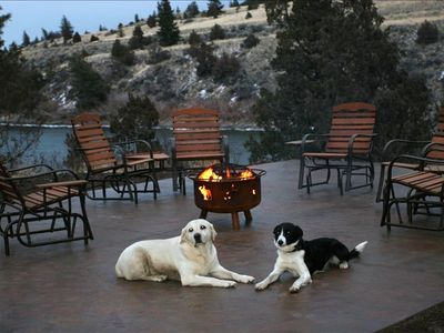 A place to relax, grill, warm by the fire and watch the river flow by.