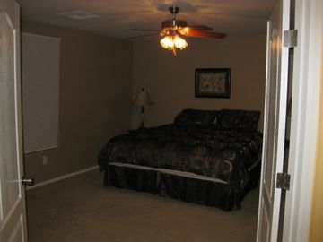 Double doors into the master bed room. King bed, walk in, bath with soak tub!