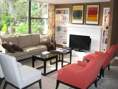 Living Room with Library and 42 inch Flat Screen TV/DVD