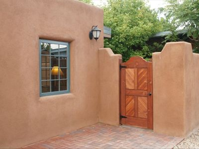 The gate to your private patio and casita just 3 blocks from the downtown Plaza