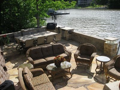 Lake side patio view from hot tub area