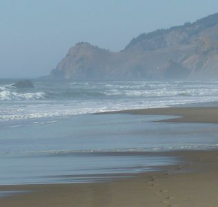 Lincoln City house rental - View of Cascade Head from our Beach.