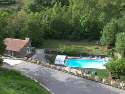 Ardèche, very calm, lodging 1 LES CHÂTAIGNIERS, big covered swimming pool, heated