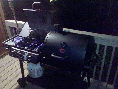 Char-Griller Duo grill with propane and coal sections for grillmasters.