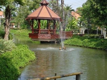 pond and gazebo, jogging trail