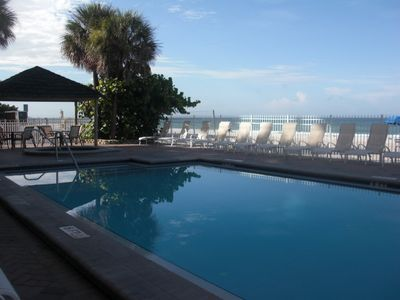 the beautiful,heated pool sits adjacent to the Gulf of Mexico