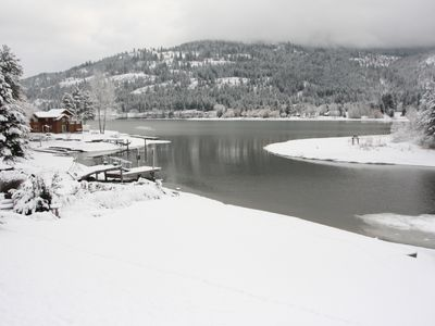 Sandpoint house rental - Play in the Winter Wonderland backyard !