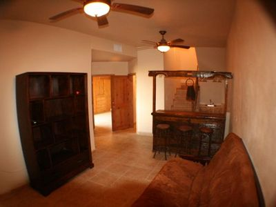Rosarito Beach estate rental - Looking out of Living Room 2 at 3 seat drinking bar and sink behind the bar.