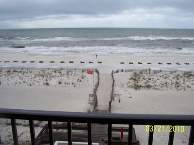 view of the beach from the balcony