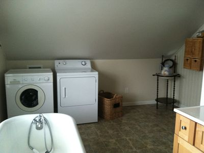 Washer and Dryer in upstairs bathroom.