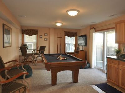 Ground level game room with 52' Plasma TV/DVD/Stereo, wet bar, Full Fridge, pool area access.
