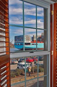 Large Container Ship passing by (from the Living Room window)