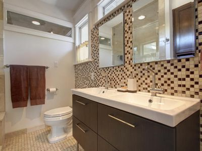 Master Bath has a double vanity and Steam Sauna in the shower