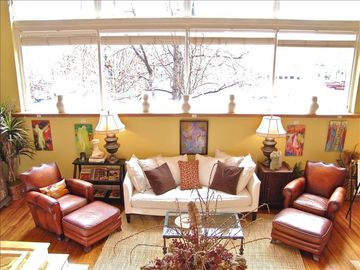Asheville condo rental - View of the Living Room from the Kitchen - overlooking Patton Avenue