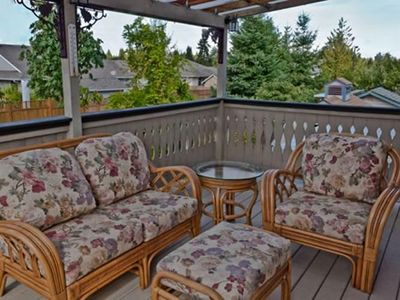 Deck with view of Mount Aerosmith. Relax and enjoy a family BBQ.