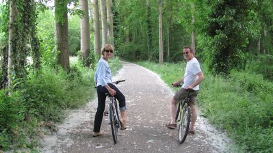 Guests ride along the bike path just next to the house. You can go for miles!