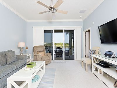 Enjoy our beautiful new living room with large HDTV & views