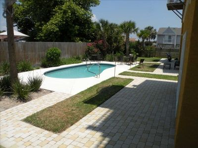 Beautiful pool area, totally fenced, tables with chairs, lounges are in pantry