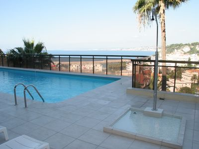The swimming pool terrace with a view over the bay!