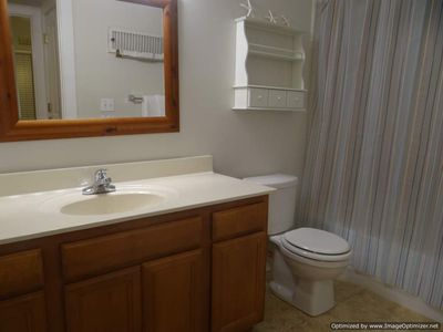 Relax in the guest bathroom with full tub and shower.