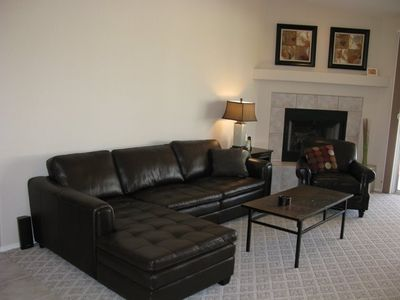 Comfy Living Room.  Great views to Backyard Oasis and Home Theater.