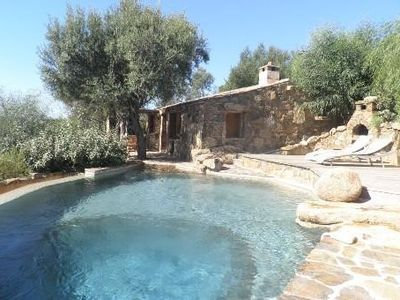 1.5 km Palombaggia, barn with private heated pool open view