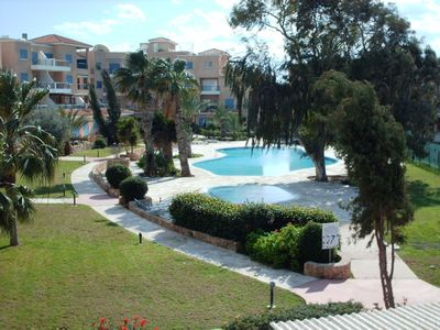 Kato Paphos apartment rental - Pool view from balcony