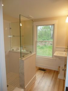 Falls Village cottage rental - Downstairs Bathroom with glass enclosed shower