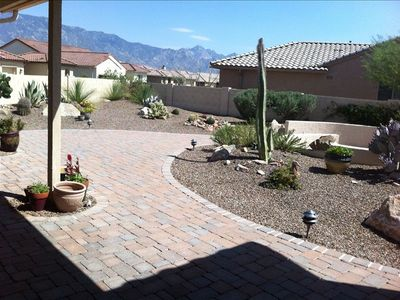 The patio and fire pit looking south-east toward the Santa Catalina mountains