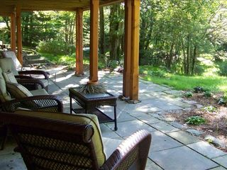Woodstock cabin photo - Soak in the quiet as you relax on the lower patio