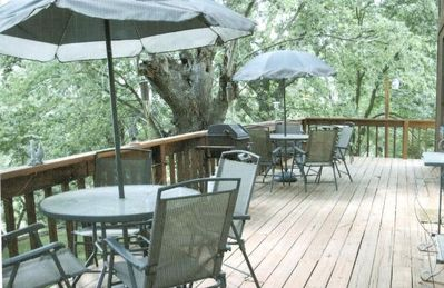 Comfortable deck for visiting with family and friends for breakfast or evening