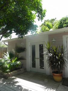 Juno Beach cottage rental - Carraige House - Separate from Main Cottage opens to secluded back deck