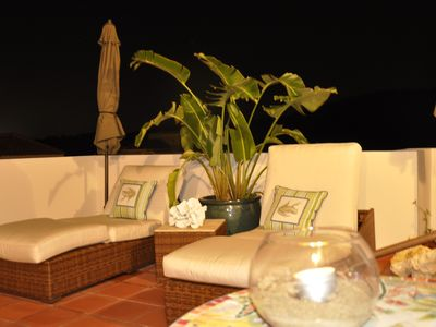 Rincon villa rental - 3rd floor patio in evening