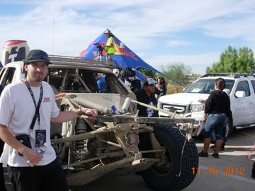 What is left of the Red Bull Trophy Truck. The 2012 Overall Winner of Baja 1000.