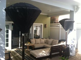 Patio cover, outdoor heaters, sectional.