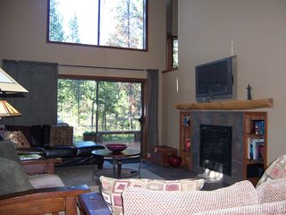 Sunriver house photo - Gas fireplace and big TV w/ surround sound in living room