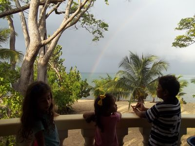 Rainbow over the sea and view from the porch