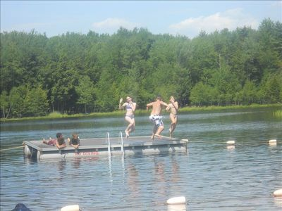 Blakeslee house rental - Lake Platform for Jumping -- Fun for all ages!