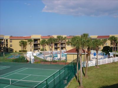 View of Gorgeous Tennis Courts and 1 of 2 Pools