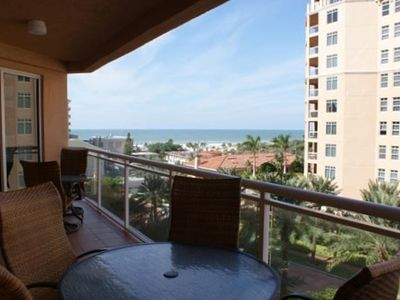 Spacious balcony with view of gulf and beach from our 6th floor condo.