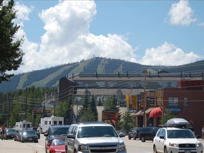 A view of your condo from the town of Winter Park. You are on this mountain.