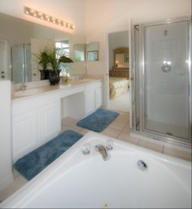 Master Bathroom with Jetted Tub and Pool Access