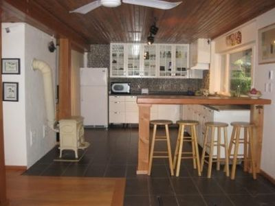 Ground floor kitchen. Newly renowed two bedroom suite. Fir floors, heated  tile