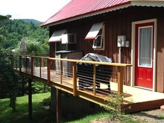 Whiteface Mountain chalet photo - Side Deck with grill & outdoor patio table