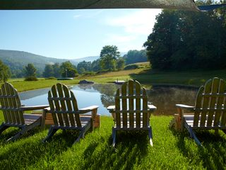 Seating at the Pond - Arlington farmhouse vacation rental photo