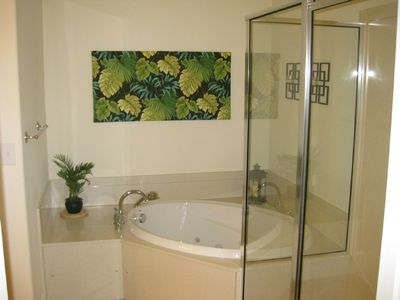 Master bath jetted tub with separate large shower