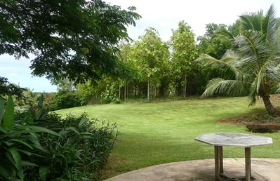 View from front Lanai to ocean and tropical hardwood forest of teak & mahogany