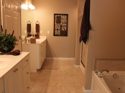 lower lever master bathroom with large walk in closet