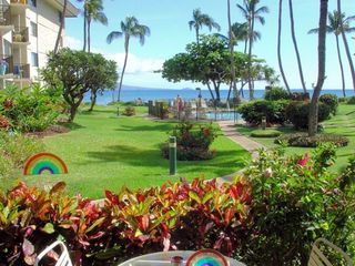 View from your Lanai. The beach is only 120 feet from here
