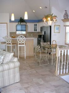 Whalehead house rental - Top Floor: Island with 4 Bar Stools in Gourmet equipped Kitchen (dining16 total)